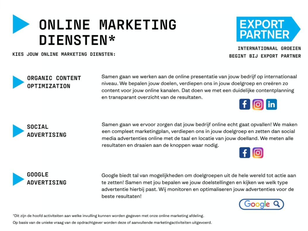 Diensten online marketing menukaart Export Partner